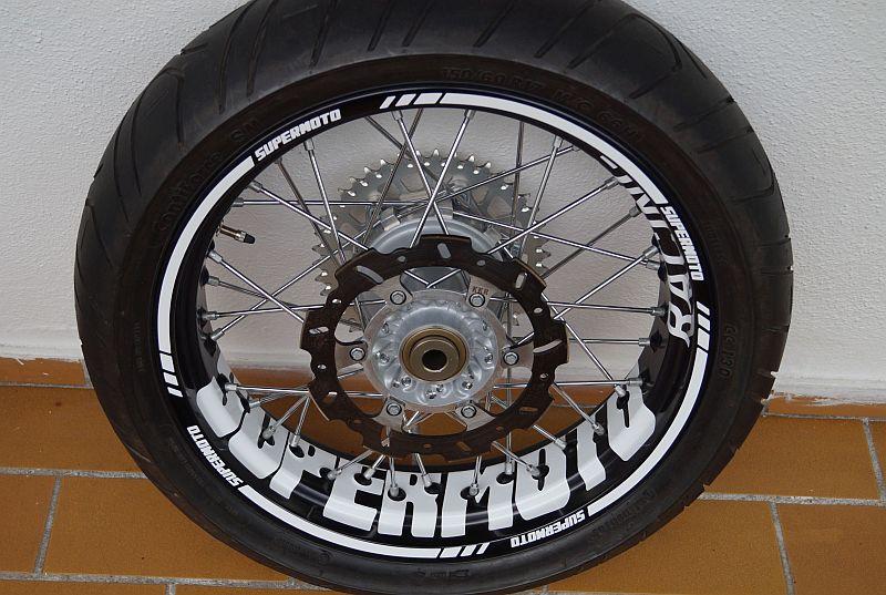 Felgenaufkleber Felgenrandaufkleber Wheelsticker Supermoto KTM SMC Weiss