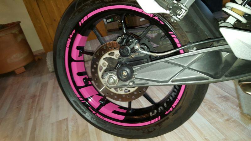 Felgenaufkleber Felgenrandaufkleber Wheelsticker KTM Duke 125 Pink 10 Speichen