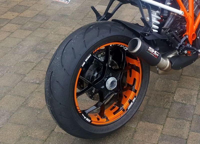 Felgenaufkleber Felgenrandaufkleber Wheelsticker KTM Superduke BEAST Orange Weiss