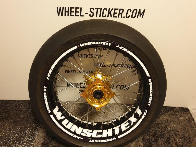 Universelle Wheelsticker Wunschtext