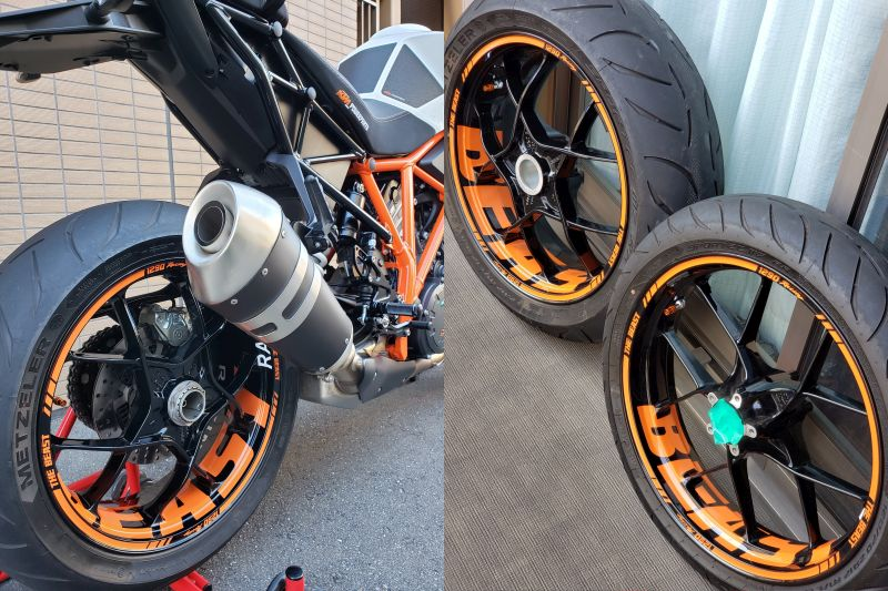 Felgenaufkleber Felgenrandaufkleber Wheel sticker KTM Superduke Orange BEAST